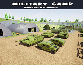 3D asset Stylized Military Camp