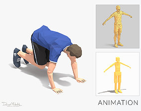Plank Ins Exercise Man Animation 3D asset