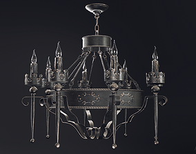 Gothic chandelier 3D model low-poly