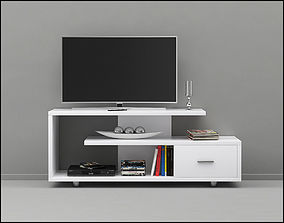 3D Monarch Specialties 2573 White Tv Stand