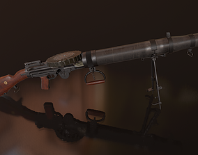3D asset game-ready Lewis machine gun