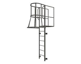 3D model Fire escape stair Grey