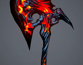Hand Painted Game Axe 3D asset