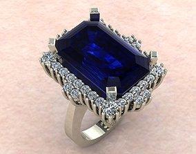 3D printable model emerald ring entourage