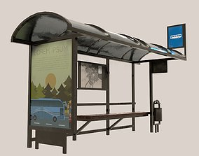 Bus Stop stop 3D model game-ready