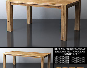 RECLAIMED RUSSIAN OAK PARSONS RECTANGULAR DINING TABLE 3D