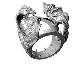 3D printable model luxury Four Snakes Ring