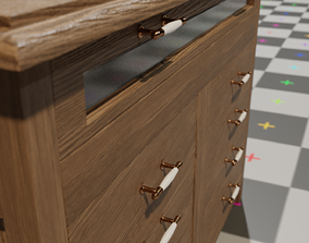 3D model Wood cabinet 9 drawers