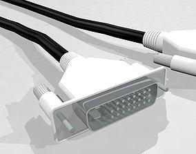 DVI Cable With Dynamic Spline - Cinema 4D Format 3D model