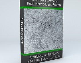 Stuttgart Road Network and Streets 3D