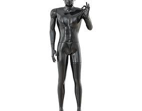 3D model Black glossy mannequin hand gesture 37