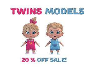 Cartoon Cute Baby Twin 3D model son