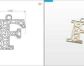 3D print model F letter pendant