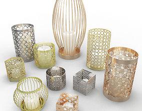 design Metallic Candle Holder 3D