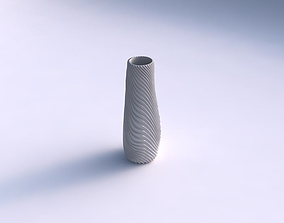 3D print model Vase with wavy extruded lines 2