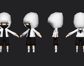 3D model rigged LOW POLY CHIBI HOODY CHARACTER