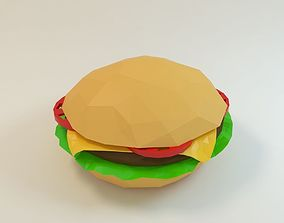 3D asset hamburger cheeseburger low poly style
