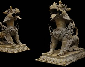 3D asset Brass Lion with 3 LOD - Nepal Heritage