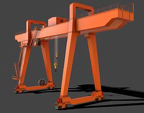 3D asset PBR Double Girder Gantry Crane V1 - Orange