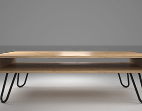 Coffee Table with Bare Steel Hairpin Legs 3D model