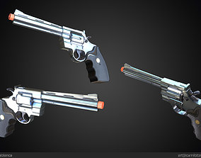 game-ready Magnum 357 Revolver Gun Weapon 3D PBR Game 2