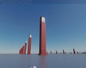 3D asset Street Light 8 Bollard 900 mm Dark Red Version 2