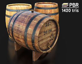 3D model low-poly Wooden wine barrels