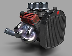 3D model realtime V8 Flathead inspired used engine