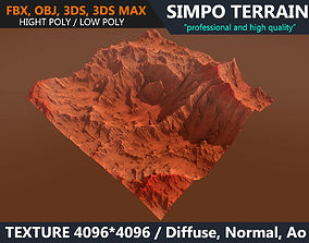 3D model Low poly Realistic Mars Terrain 05 - Game Ready
