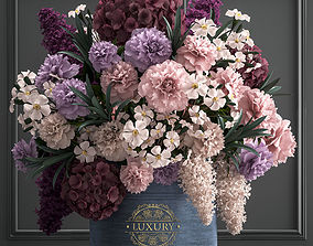 3D model bouquet of flowers in a gift box