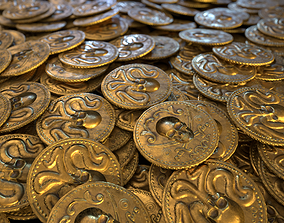 Pirate Gold Coin and Stack - Variant E 3D asset PBR