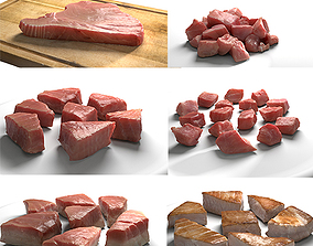 3D model Tuna Meat Pack - Steak Raw Cooked Chopped