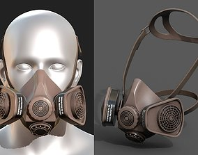 Gas mask protection isolated equipment armor 3D asset 1