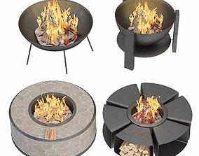 Modern Outdoor Fire Pits 3D