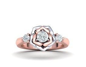 Rose Ring Three Stone Engagement ring 3dmodel