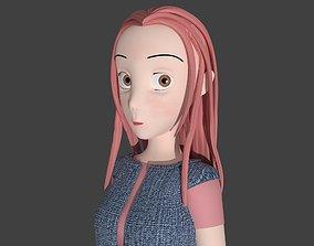 Toony cartoon female character 3D model