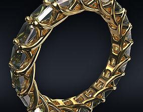 3D model Ring full 20 square stones