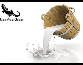 3D model Bucket pouring milk