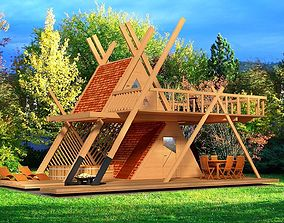 Glamping tower with hot tube and fire pit 3d game-ready