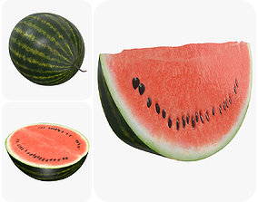 Realistic watermelon whole half sliced 3D model PBR