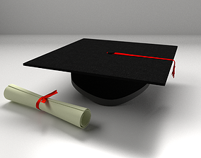 3D model Mortarboard And Scrolls