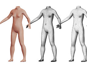 3D model Character 31 High and Low-poly - Body female