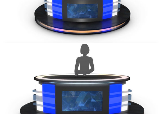 3D TV Studio News Desk 12