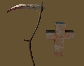 3D model Low Poly Scythe and Cross