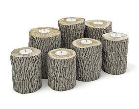 Wood Logs Candlesticks 3D
