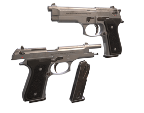 PBR Low Poly Gun - Beretta M9 Pistol 3D asset