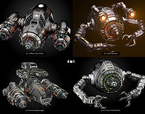 4 sci-fi drones pack 3D model