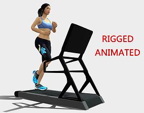 3D asset Sports Girl Running On Treadmill