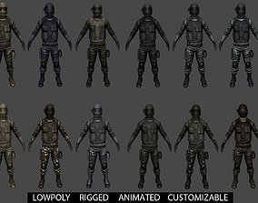 3D asset animated Customizable Soldier