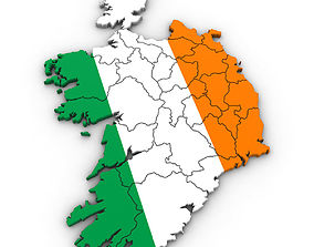 3d Political Map of Ireland